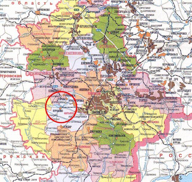 м. Курахове на картi України